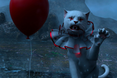 Nightmare Kitty. A white Kitty dressed as a clown with a red balloon floating in the air besides her. Rendered in Daz Studio and postwork done in Adobe Photoshop.