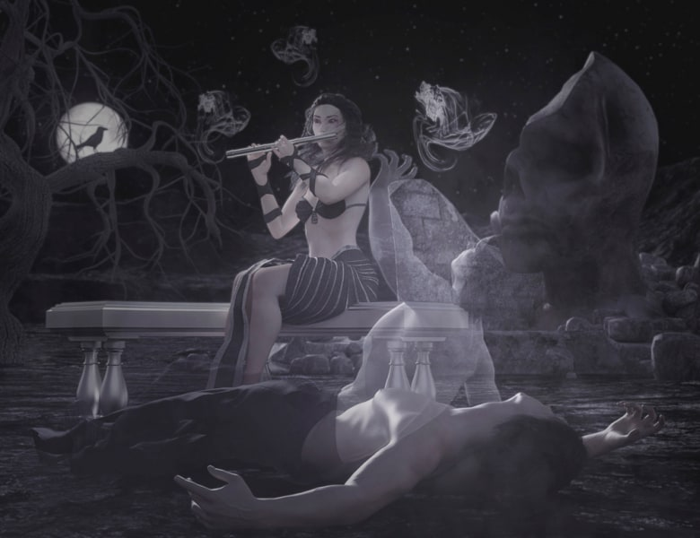 Image title: Death Calling. A man lying on the ground, you see his ghost rising from his body reaching it's hand up towards the sky. On a bench behind his body a woman is sitting playing the flute,behind her are ghost whisps lingering . There's a raven sitting in a bare tree in front of a full moon  and  a huge broken stone skull in the background.rendered in Daz Studio and postwork done in Adobe Photoshop.Colors are muted.