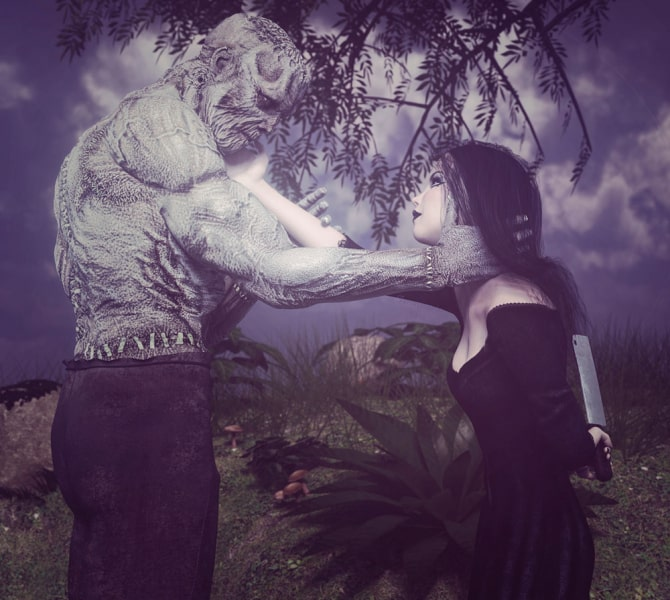 Image title : Don't be afraid. A monster(or is he?) and a young woman standing in front of each other. They each has a hand against the others cheek looking into each others eyes. She says to him : Don't be afraid ,while holding a butcher knife  behind her back.They're outside standing under a tree and the colors are muted.Rendered in Daz Studio and postwork done in Adobe Photoshop.