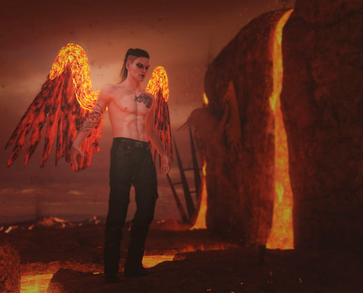 Image title: Hells Angel. A dark goth looking angel at hells pit. His wings are made of fire and lava. in the background there's an angel hanging on the wall of the lavapit.Rendered in Daz Studio,postwork done in Adobe Photoshop.