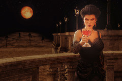 Image title: Cheers.A woman standing on a balcony in a black dress holding a glass of red wine (maybe) in her right hand and toasting. The full moon is up and it's red/orange. It hangs just above the impaled bodies i n the background.Rendered in Daz Studio and postwork done in Adobe Photoshop.