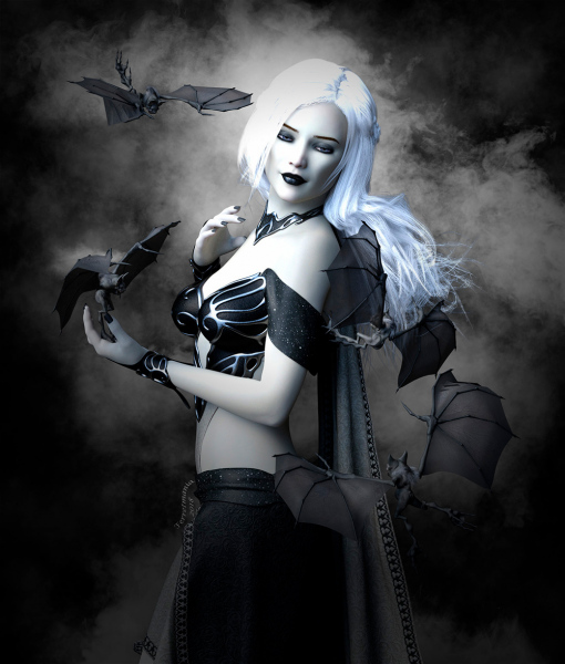 Image title : Batgirl. A fantasy portrait in black and white of a young girl in a black top and skirt with long flowing shoulderdrapes. She has blonde hair and are surrounded by friendly bats.One is standing on her hand. She has a small smile on her face.Rendered in Daz studio and postwork done in Adobe Photoshop