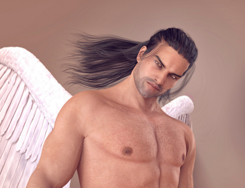 Image title : Brahm. A fantasy portrait up close of a male angel. He has long black hair in a half up half down up-do ,stubbles and white wings. His eyes are golden brown. The background is neutral brown. Rendered in Daz Studio.