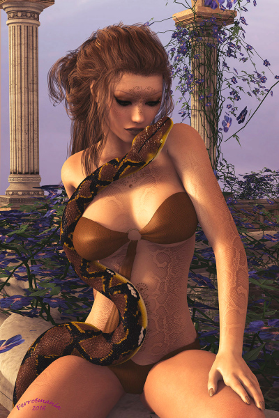 Image title : Kindred Spirits. A fantasy portrait of a young woman with a snake twisting up her body. The woman's skin are like a snakes. They are kindred spirits. Rendered in Daz Studio and postwork in Adobe Photoshop.