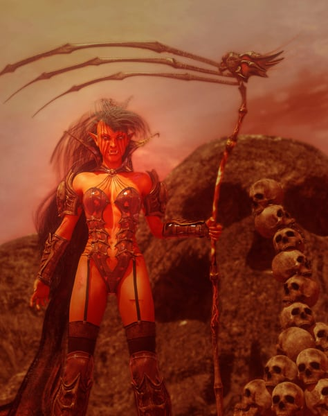 Image title : Female Bloodorc. A  full body portrait of a female bloodorc with a menacing aggressive look on her face. Her face is painted and she's ready to attack. In her left hand she's holding a scythe made of bones. She's standing besides a pile of skulls and behind her is a giant skull carved out of a huge rock.Rendered in Daz Studio and postwork done in Adobe Photoshop.