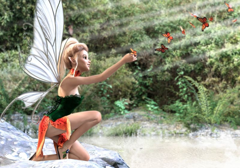 Image title: Butterfly Fairy. A young butterfly fairy with white wings and blonde hair,wearing a green and orange fairy dress. She's  kneeling at a lake in a forest,reaching out her hand to the butterflies that comes to her from above. Serene surroundings on a sunny day.Rendered in Daz Studio,postwork done in Adobe Photoshop.