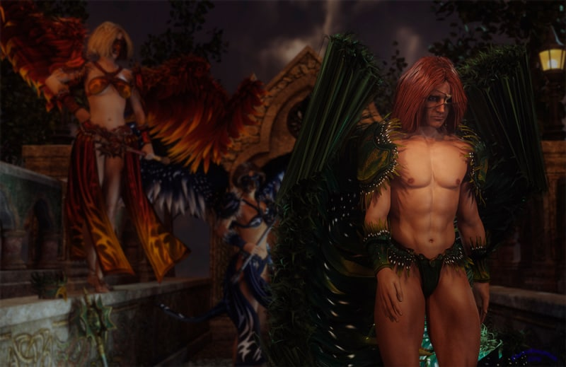 Image title : Dejected. A male angel being dejected by two female angels seen in the background . He has green wings ,red hair and wears an eye patch made of bone. He looks sad as he walks away. One of the females has blond hair ,her wings are red/orange and she wears an outfit that matches the colors of her wings. The other angel has dark hair and her wings are blue/white.Her outfit matches her wings in color.Rendered in Daz Studio and postwork done in Adobe Photoshop.