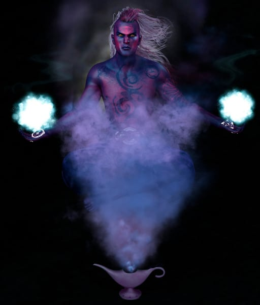Image title : Djiin. A djiin emerged from his lamp. He looks determined and angry. A glowing fireball lingers above the tattoos inside his hands.Rendered inside Daz Studio and postwork done in Adobe Photoshop.