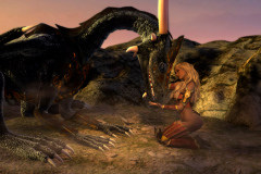 Image title : Friends. A dragon wearing armor and a young woman are friends. She's kneeling in front of the dragon. They're friends or starting to develop a friendship. Their surroundings are bare, mostly rocks and sand and the sun is setting. Rendered in Daz Studio and postwork done in Adobe Photoshop.