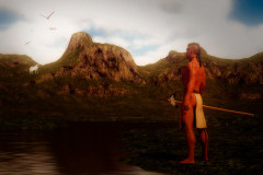 Image title : Signs. A river running through the mountains. On one side of the shore there's an indian standing . He's looking towards the mountain on the other side of the river. There's birds in the sky guiding the indians eyes towards the white wolf standing underneath the. The wolf is white and slightly glowing .The wolf is looking back at him.Rendered in Daz Studio and postwork done in Adobe Photoshop.