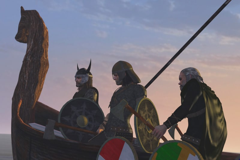 Image title : Viking Clan. An old viking boat where you see 3 vikings on their way to battle.Rendered in Daz Studio and postwork done in Adobe Photoshop.