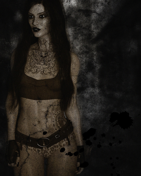 Title: CityGirl. A 3/4 full bodyportait of a girl with a big chest tattoo and a tattoo that covers the left side of her abdomen. She has long black hair. Rendered in Daz Studio and postwork done in Adobe Photoshop using several textures and overlays to create a grunge look. The image is mostly black and while except the girl whom has a slight sepia tone to her.