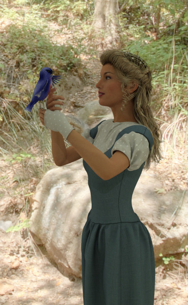 Image title: Wildlife Wonder.  A sunny day in the forest. portrait of a young woman with a blue bird sitting on her finger. She's petting the bird on the chest while the bird sings/talks to her and she listens intently. The woman is wearing a blue dress with a short sleeved blouse under and fingerless summer gloves.She has blond long hair in a half up half down style hair do. Rendered in Daz Studio.