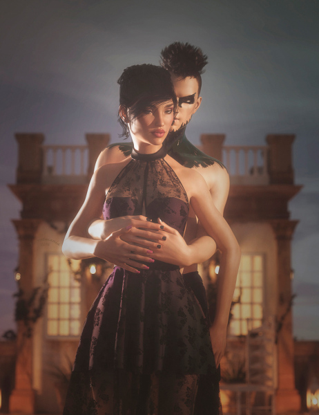 Image title : Opposites Attracts. A portrait of a couple where the man is standing behind the woman with his arms around her.He has short black hair,black pants, wears black nailpolish and has a tattoo that runs from the collarbone to his chin and has heavy black eye make-up on. The woman's hair is also black and she has a classic up do. She wears a black short classic dress with a longer lace dress ver it. Her nails and lips are red and her eye make-up is in brown colors. They are standing on a dock in front of a small  building. Rendered in Daz Studio and postwork done in Adobe Photoshop.