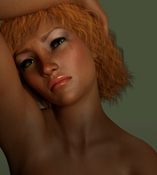 Image title : Sadness. A close-up portrait of a young red haired woman who is sad. She has a hint of tears under her eyes and her right arm is resting on top of her head. The background is green matching her eye color to some extend. Rendered in Daz Studio and minor postwork in Adobe Photoshop.