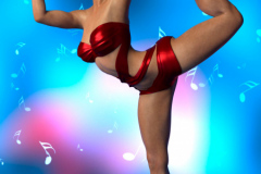 Image title : Celia. A full portrait of a young woman in a dancing pose. She's wearing a red top and red hotpants. She's barefeet.She has short brown hair and wears red lipstick. Her eyes are blue matching one of the colors in the background. The background is mostly blue with specks of white and pink, the floor is blue. Around her is floating notes.Rendered in Daz  Studio and postwork in Adobe Photoshop.