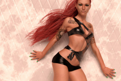 Image title : Kimberley. A full body pin-up portrait of a young woman. Her hair is red and long.She wears a top and hotpants both black. She has black tattoos. The background and floor are tiles in rosy/white tones. Rendered in Das Studio and postwork done in Adobe Photoshop.