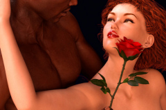 Image title : Kiss from a rose.A portrait of a couple. A black man and a white woman staring in to each others eyes.She's resting er back in his left arm looking up in to his eyes.He's looking down at her holding a red rose against her right cheek with his right hand. Rendered in Daz studio and postwork done in Adobe Photoshop