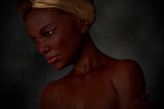 Image title: The Survivor. A portrait of a black woman wearing a turban. Her make-up is neutral and she has a distant look in her eyes. The background is neutral dark grey. Rendered in Daz Studio and postwork done in Adobe Photoshop.