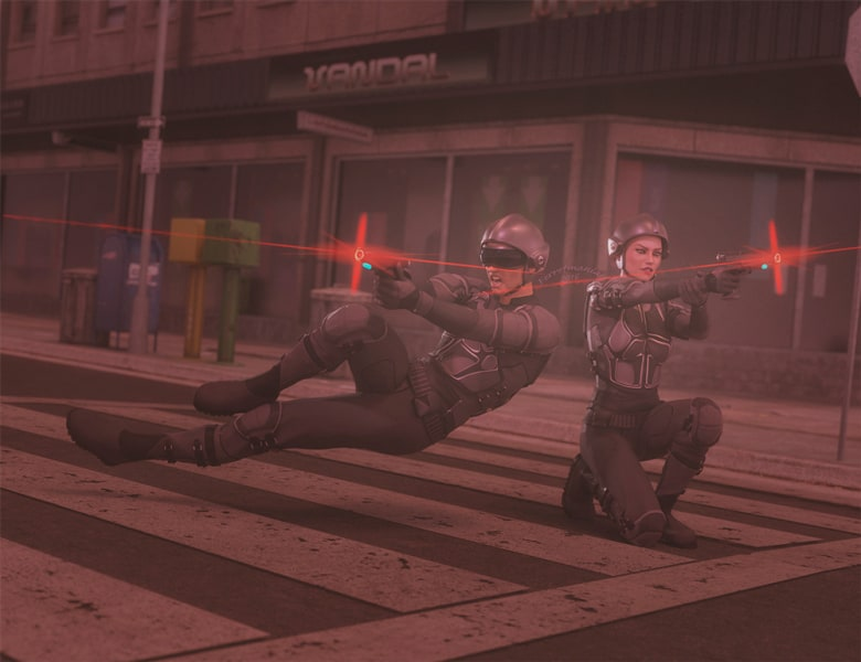 Image title : Defenders of the streets. A sci-fi image of a man and woman in military outfits, shooting laserguns. They're in the streets of a future World at night.Rendered in Daz Studio and postwork done in Adobe photoshop.