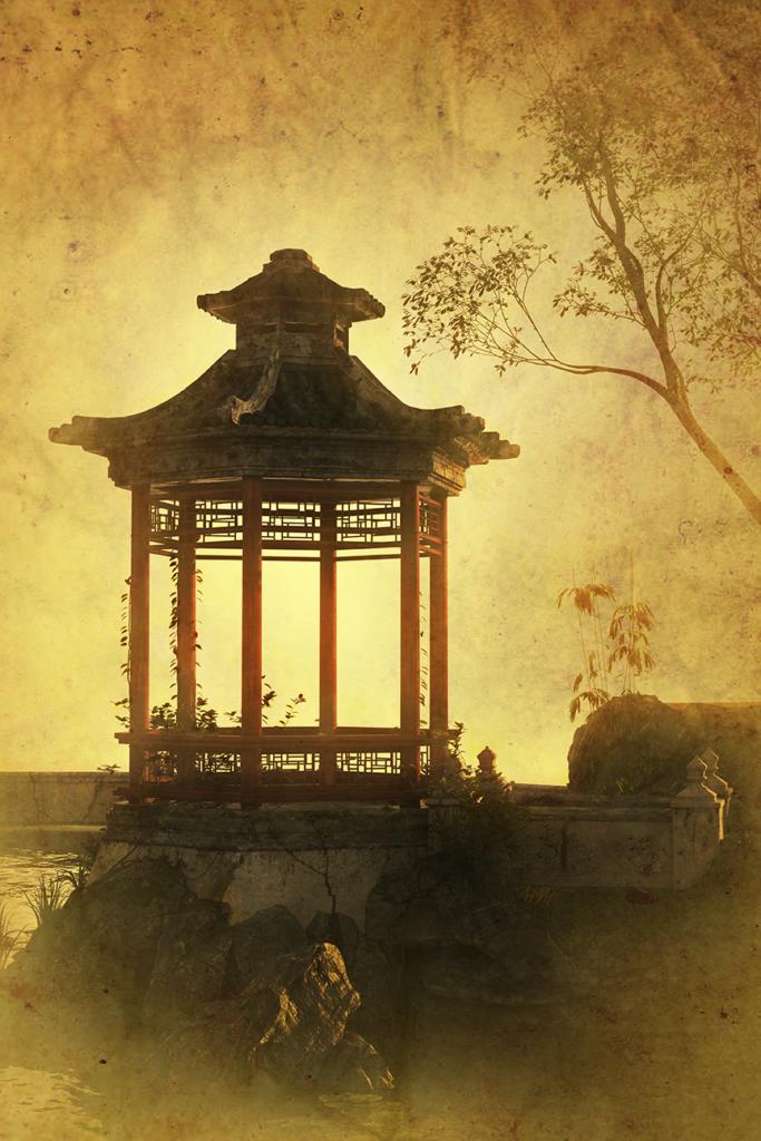 Digital Art. Image of an Asian Pavillion