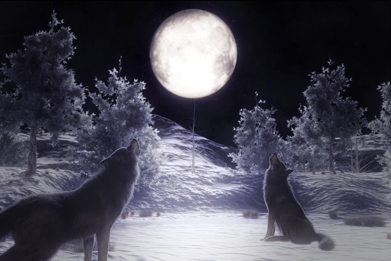 A digital artwork of two wolves in a winter landscape howling at the full moon.